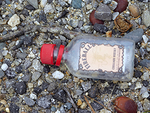 nips bottle on side of Maine road
